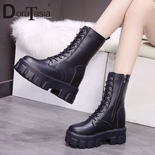 DORATASIA Brand New Ladies Chunky Heels Boots 2020 Casual Party Office Boots Women Fashion Zip Cross