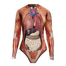 Human Anatomy 3D Print Long Sleeve Sexy One Piece Swimsuit Female Entrail Pattern Bodysuit Women Bod