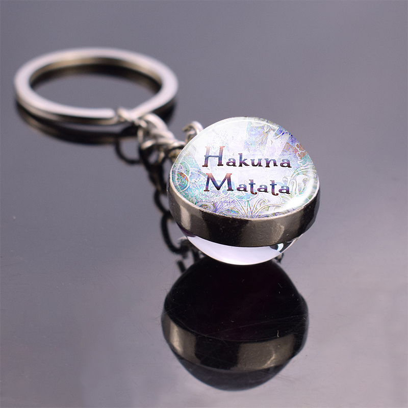 Hakuna Matata Key Chain Crystal Ball African Proverb Inspirational Quote Double Sided Keyring  Jewelry Gift For Child Friends
