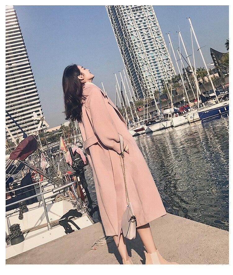2019 Autumn Winter Woolen coats Women Lantern Sleeve Wool&blends Long Woolen Coat Casual Loose Wool Jacket Female Outwear 19