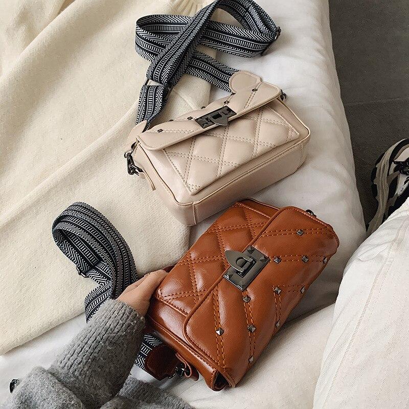 Wide Shoulder Belt Small Bag For Women 2020 New Casual Versatile Small Square Bag Rivet Lock Single Shoulder Messenger Bag