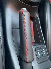Skórzany hamulec ręczny pokrowiec rękaw ochronny do Honda / Accord / Civic 8, czarny + czerwonej linii