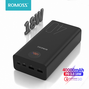 Image 1 - ROMOSS Zeus 40000mAh Power Bank 18W PD QC 3.0 Two way Fast Charging Powerbank Type C External Battery Charger For iPhone Xiaomi