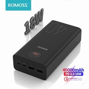 Image 1 - ROMOSS Zeus 40000mAh Power Bank 18W Повербанк PD QC 3,0 Двусторонняя Быстрая зарядка Powerbank Type C Внешнее зарядное устройство для iPhone Xiaomi Смартфоны