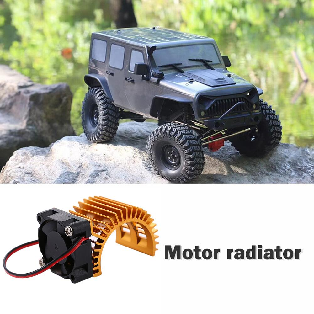 <font><b>540</b></font> 550 <font><b>Motor</b></font> Radiator with Cooling <font><b>Fans</b></font> Heat Sink Classic Practical Skillful Manufacture for 1/10 RC Car Axail Traxxas image