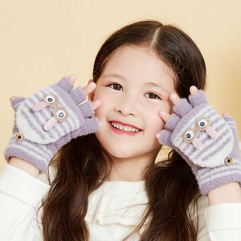 Toddler Kids Winter Convertible Flip Top Plush Gloves Cute Rabbit Stripes Mitten