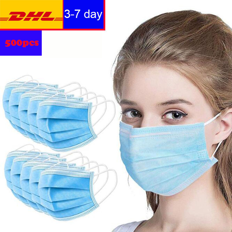 DHL Free Shipping 500 Disposable Masks Non-woven Fabric Three-layer Intermediate Flannel Anti-PM2.5 Sanitary Safety Mask