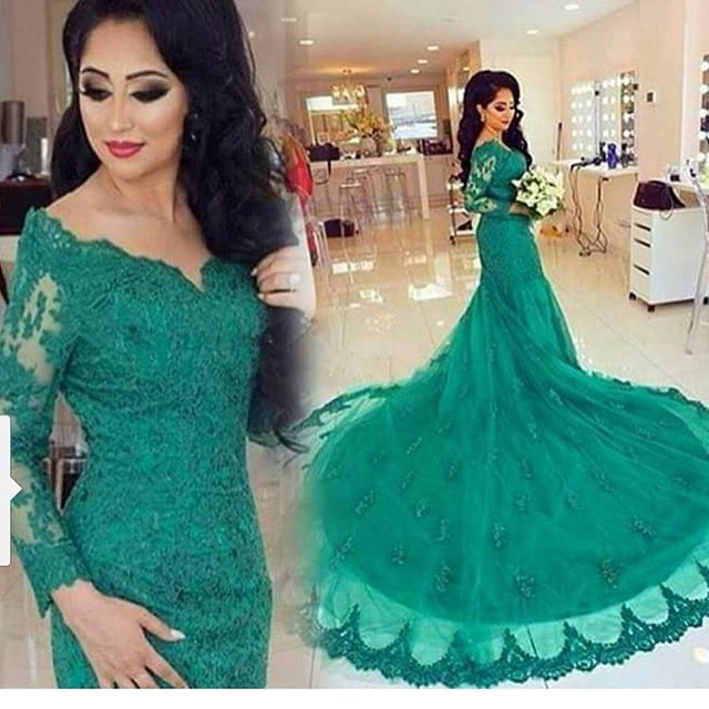 Turquoise Mermaid V Neck Lace Applique Long Sleeve Chapel Train Dubai Arabic Style Evening Gown Mother Of The Bride Dresses