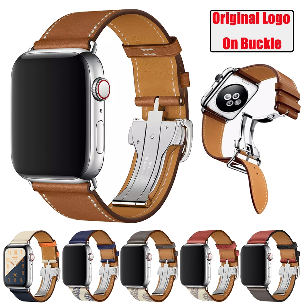 26.9US $ |Herm Logo Leather Single Tour Watch Band for Apple Watch Series 6 SE 5 4 3 2 Strap Bracelet for iWatch bands 44mm 40mm 42mm 38mm|Watchbands| - AliExpress