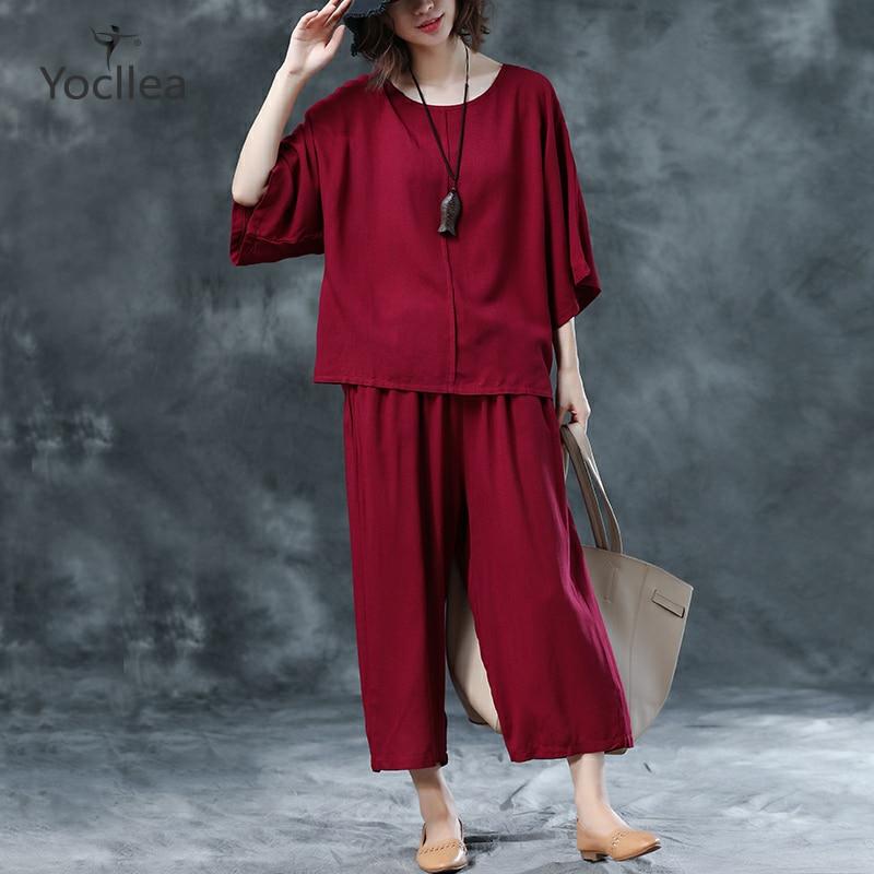 Fashion Summer Two Piece Set Women Loose Wide Leg Pants +plus Size Casual Shirt Tops Suits Office Lady Elegant Women's Sets