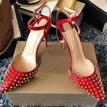 Sexy Red Rivets High Heel Dress Shoes Ankle Strap Pointed Toe Spikes Celebrating Shoes Leopard Heels Shallow Pumps Women Shoes women s shoes fashion women pumps sexy leopard grain high heels shoes 2017 womens horsehair thick heels pointed toe rivets shoes