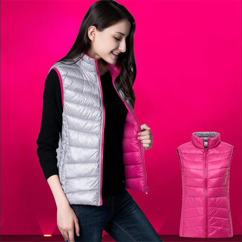Women's Duck Down Reversible Vests Tops Stand Collar Sleeveless Quilted Female Jackets 2019 Autumn Winter Warm Waistcoat Ladies