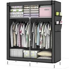 ;verschluss Stoffschrank Kleiderschrank mit Kleiderstange, Fächern und Seitentasche - Camping Steckschrank Textil Garderobe