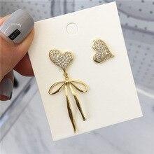 2019 nuevos pendientes de gota japoneses coreanos Vintage para mujeres Bowknot asimétrico amor Colgate de cristal joyería Oorbellen regalos