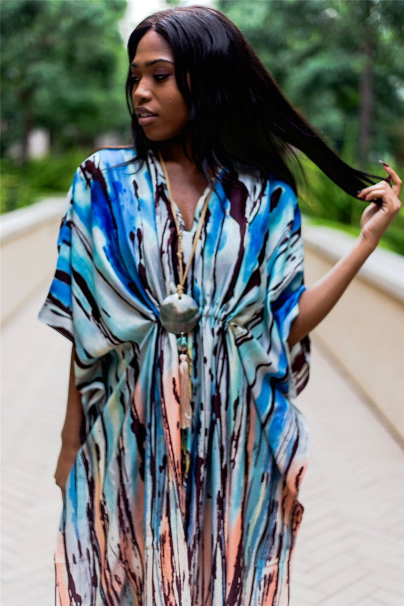 Muticolored Cotton Tunic Women Summer Kaftan Beach Dress Casual Printed High Waist Three Quarter Sleeve Side Split Dress in Cover Ups from Sports Entertainment