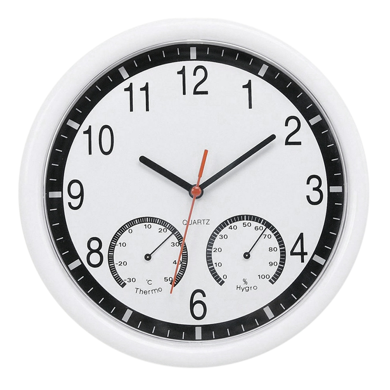 New Quartz Stone Clock Silent Wall Clock Accurate Thermometer Humidity Indoor Outdoor Pool Patio