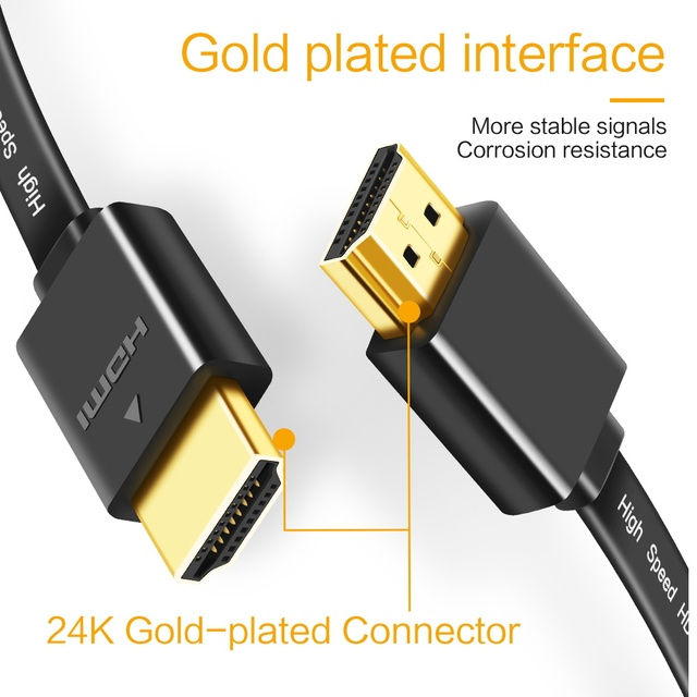 HDMI-compatible Cable HDMI-compatible to HDMI Cable Gold Plated Video Cables 3D HDMI-compatible Flat Cable for HDTV PS3 Splitter 5