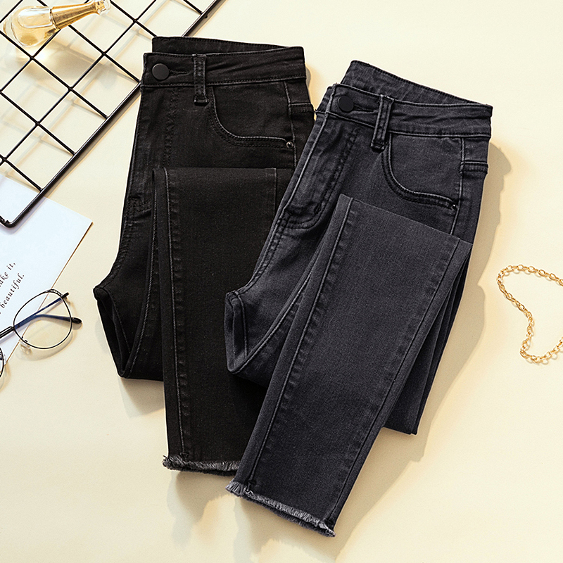 2019 casual gray black skinny jeans woman high waist ripped stretch mom jeans for women plus size Ladies jeans denim jeans femme in Jeans from Women 39 s Clothing