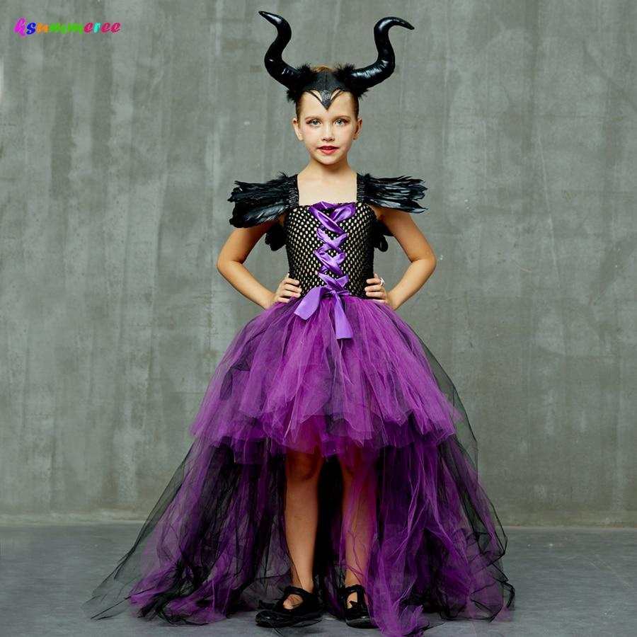 Purple Black Children Maleficent Costume Girls Dark Witch Villain Halloween Fancy Tutu Dress Evening Party Carnival Ball Gowns 1