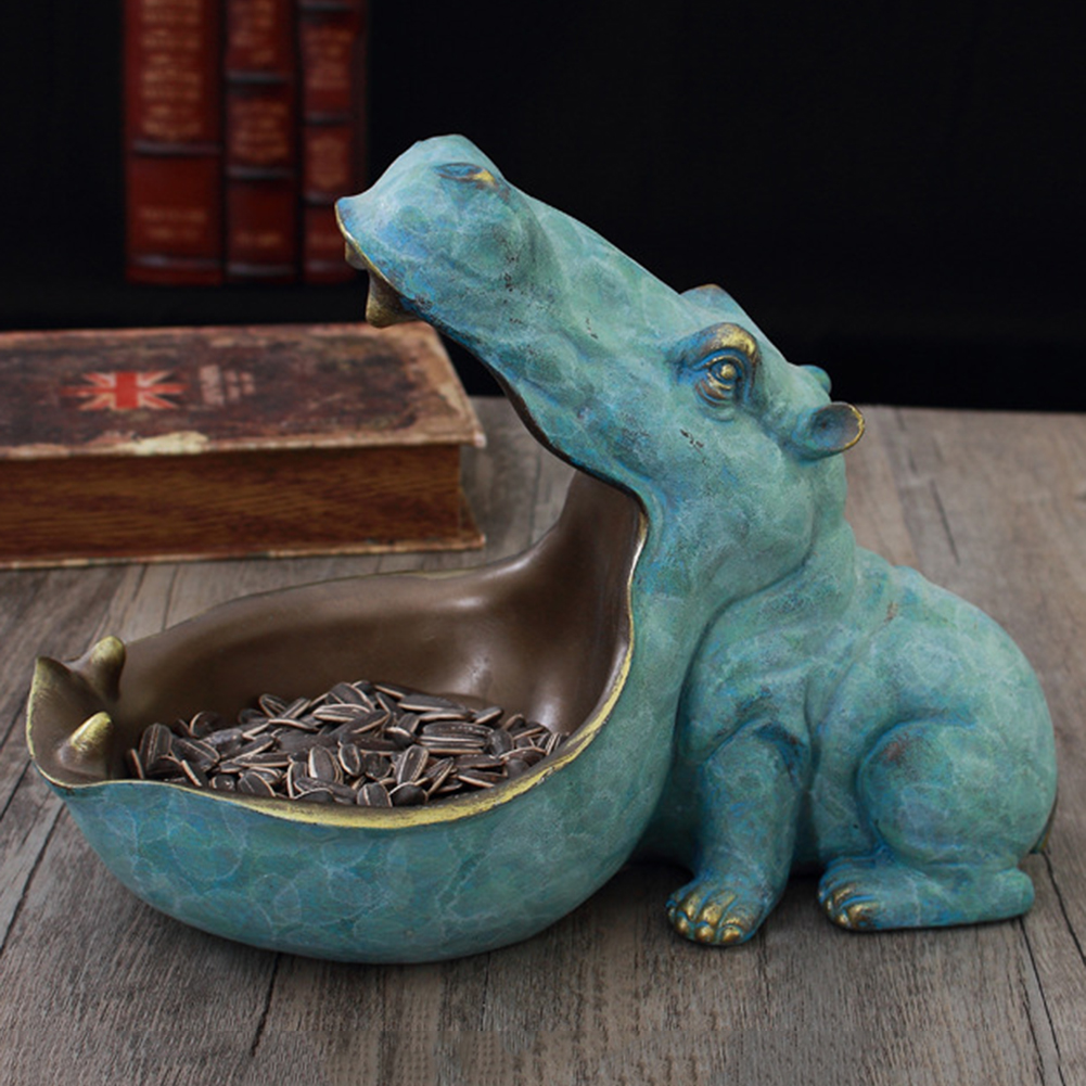 Resin Hippo Statue Hippopotamus Sculpture Figurine Key Candy Container Decoration Home Table Decoration Crafts Accessories Gift