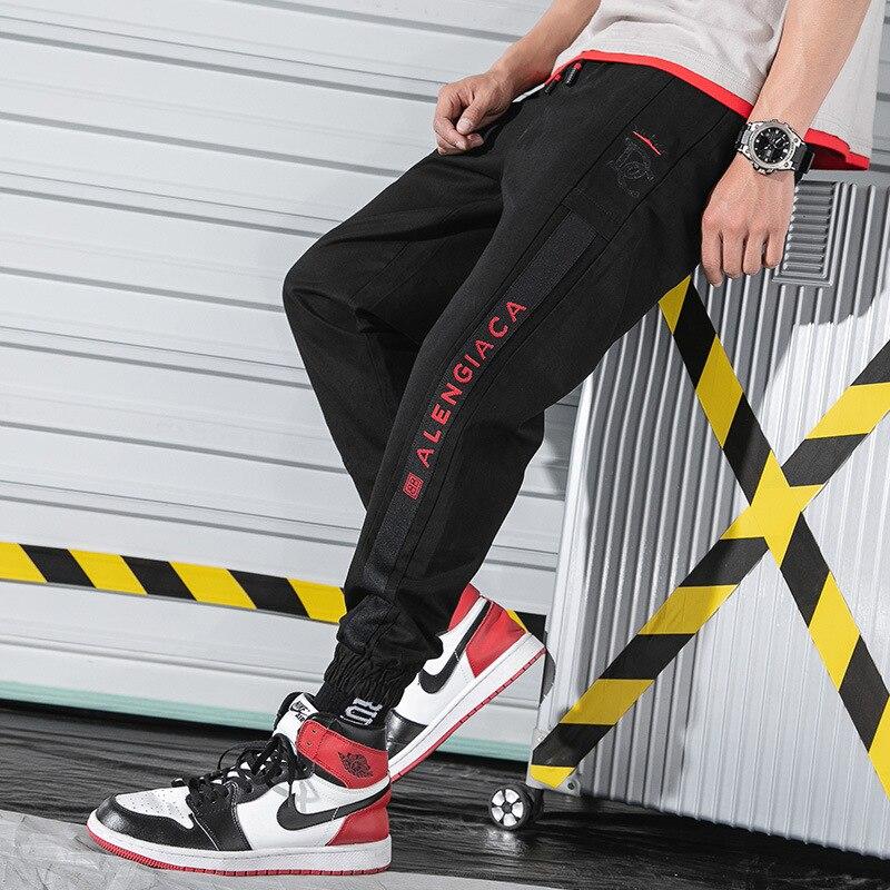 MEN'S Casual Pants Spring And Autumn Sports Popular Brand Capri Beam Leg Bib Overall INS Pants Men's Korean-style Trend Wide