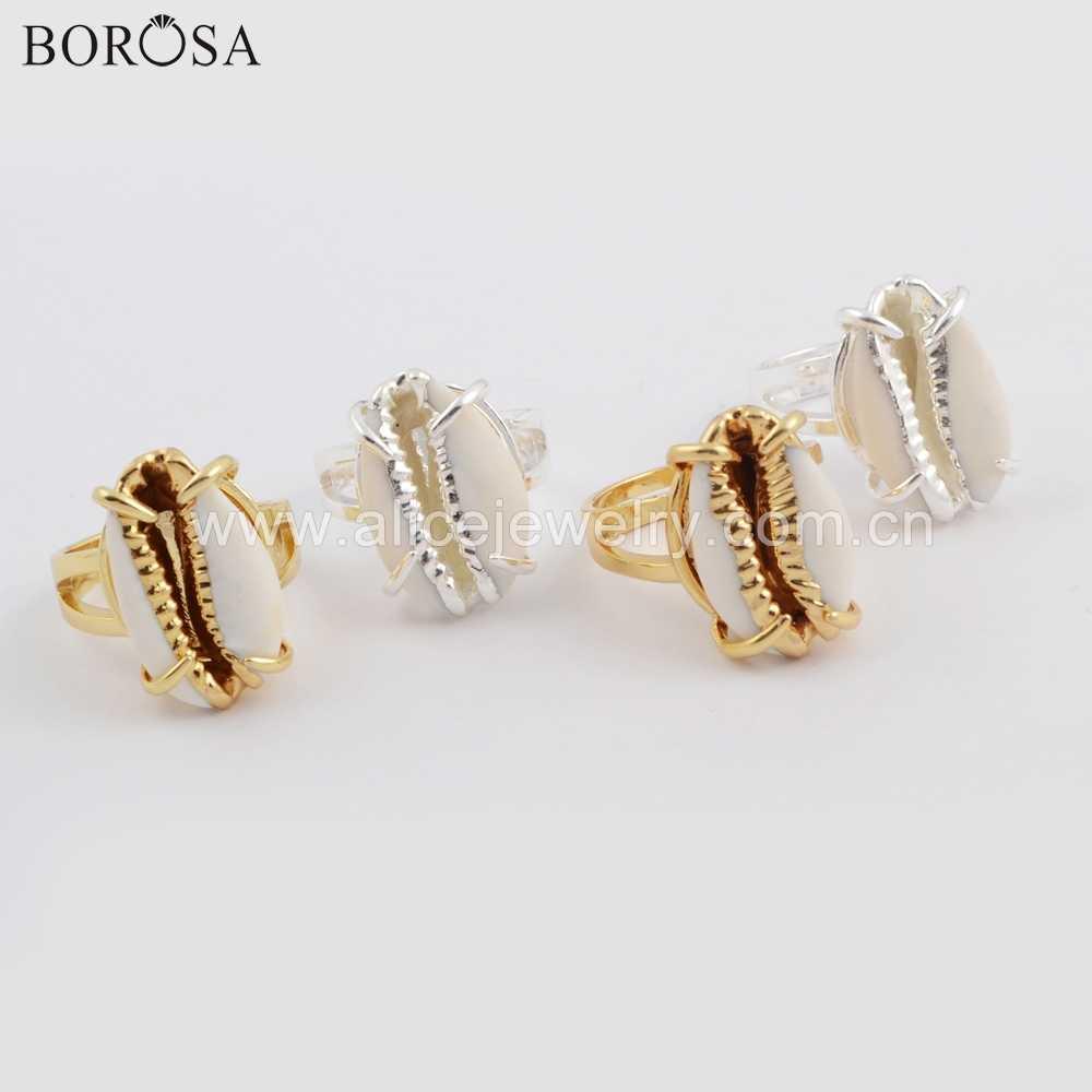 BOROSA Bohemian Cowrie Shell แหวน Sea Shell แหวนแฟชั่นเครื่องประดับแหวนทอง/เงินแหวนผู้หญิงเครื่องประดับ ZG0398