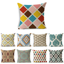 цены Pillow case 45*45CM American Geometric Pattern Printed Linen Pillowcase Home Sofa Pillow Cushion Cover Decorative Pillowcase