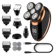 Islak kuru elektrikli tıraş makinesi erkekler için sakal saç düzeltici elektrikli jilet şarj edilebilir kel tıraş makinesi LCD ekran tımar kiti