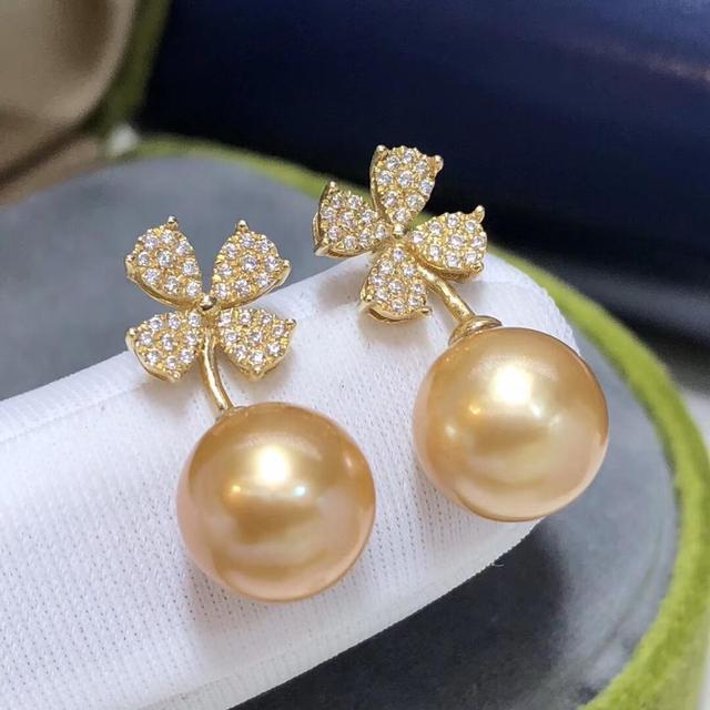Fine Jewelry 1103 Pure 18 K Gold Natural Ocean Golden Pearls 8-9mm Stud Earrings for Women Fine Pearl Earrings 3