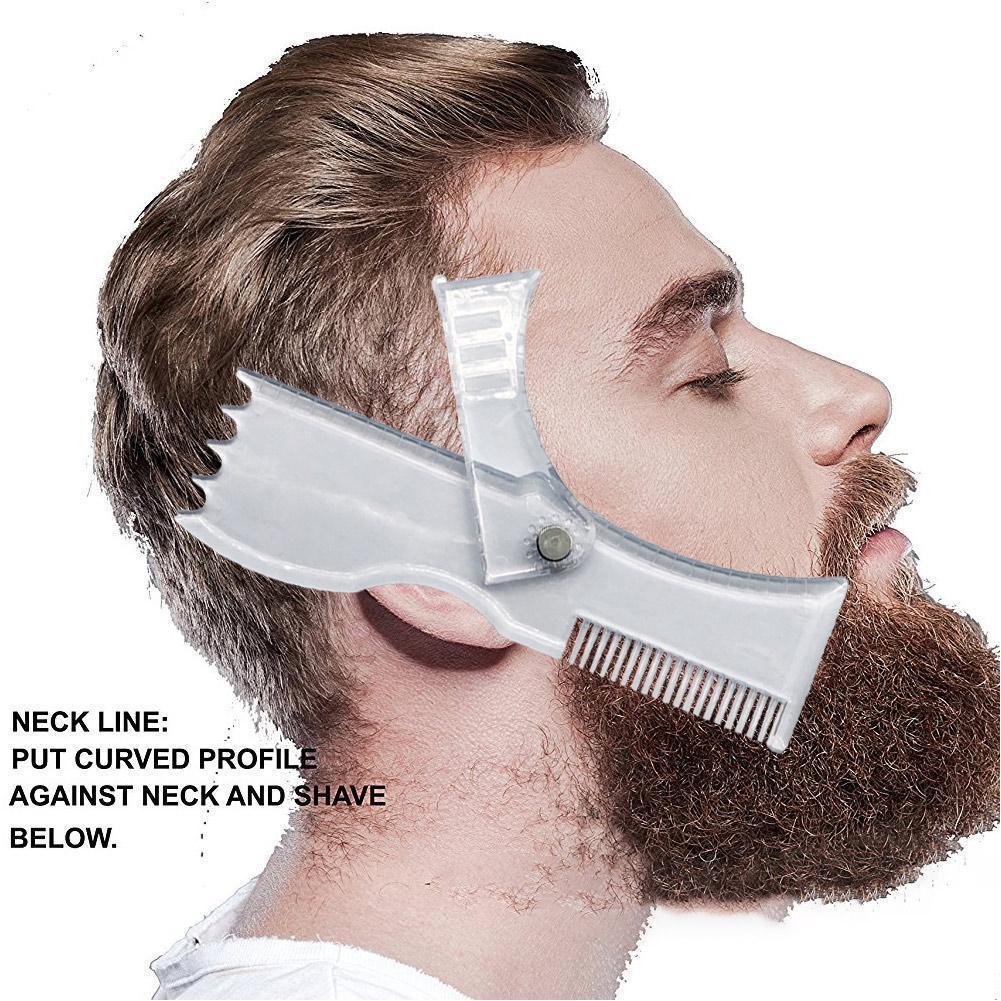 Os recém-chegados barba modelagem modelo de estilo pente ferramenta guarnição barbas para o cabelo transparente barba modelos pentes masculinos beau i0w7