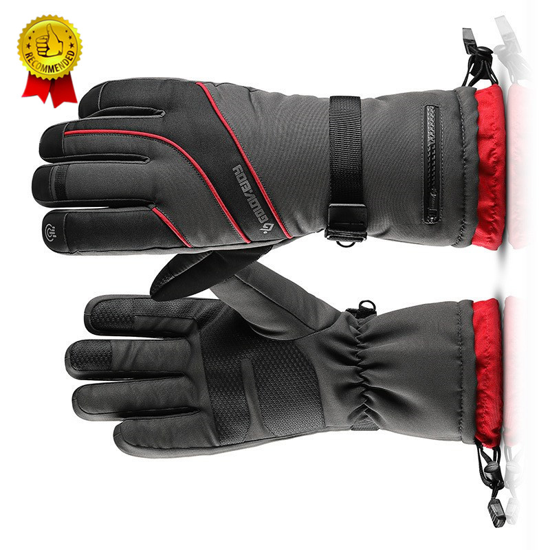 Ski Snowboard Gloves Touch Screen Windstopper Motorcycle Waterproof Winter Men Women Hiking Fishing Skiing Gloves Black Red L XL