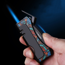 2020 New Windproof Torch Jet Butane Gas Lighter Multi-functional Cigarette Lighter Carrying Cigar Cu