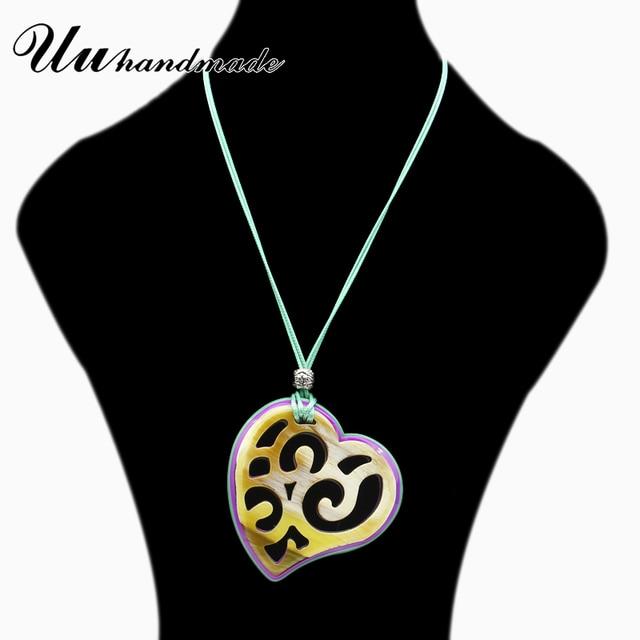 готическое акриловое сердце кожаная цепочка ожерелье кулон богемные фотография