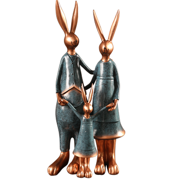 Accessories Home Decoration Crafts Small Gifts  Set Figurines Resin Rabbit Handmade Animal Ornaments Miniature Couple KK60HD