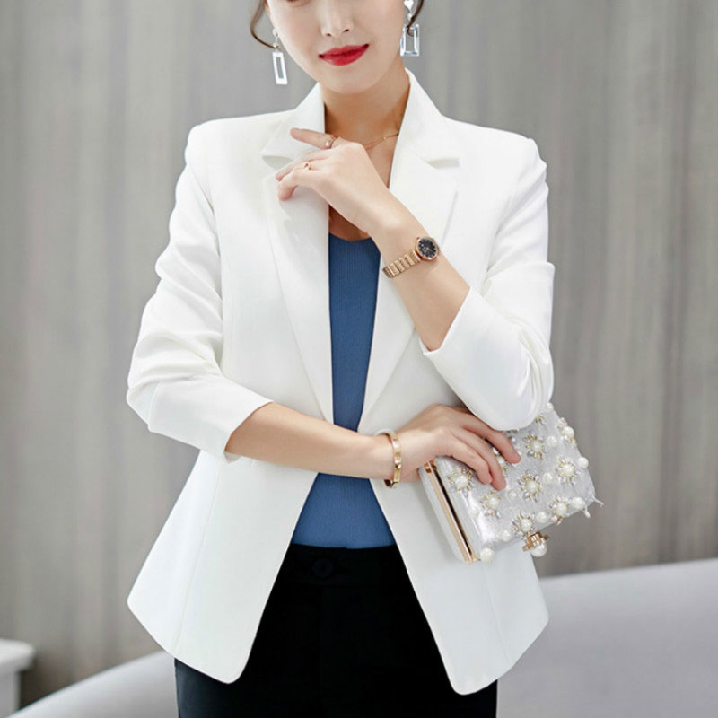 Autumn Spring Women Blazer Jacket 2020 Slim Fit Single Button Short Office Lady Black White Jackets Female Blazers Femme Mujer