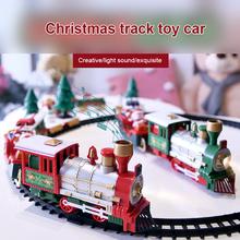 Pociąg bożonarodzeniowy zestaw kolejowy klocki zabawki dla chłopców dzieci choinka prezent pociąg parowy klocki DIY zabawki dla dzieci tanie tanio CN (pochodzenie) Z tworzywa sztucznego Zasilanie bateryjne Edukacyjne Mini Miga Brzmiące 0-12 miesięcy 13-24 miesięcy