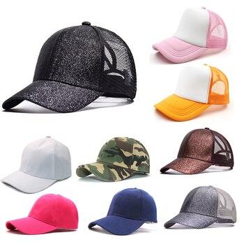 Women Men Casual Baseball Caps Adjustable Solid Camouflage Mesh Patchwork Snapbacks Visor Hats Fashion Unisex Hip-Hop Hat