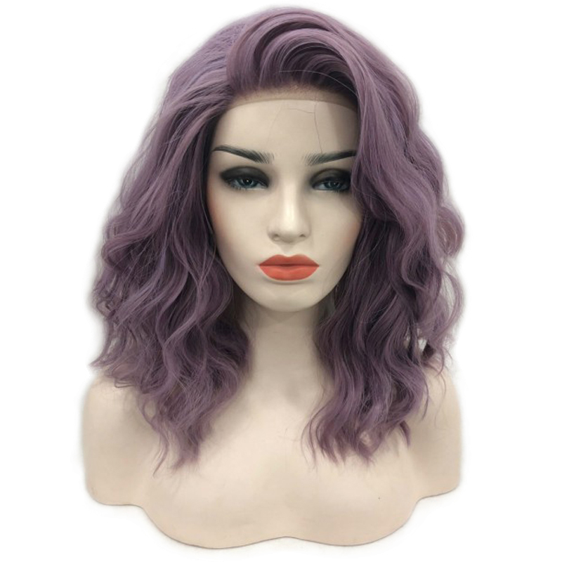RONGDUOYI 12Inch Short High Temperature Fiber Hair Synthetic Lace Wigs For Women Purple Wave Lace Front Short Wig With Side Part