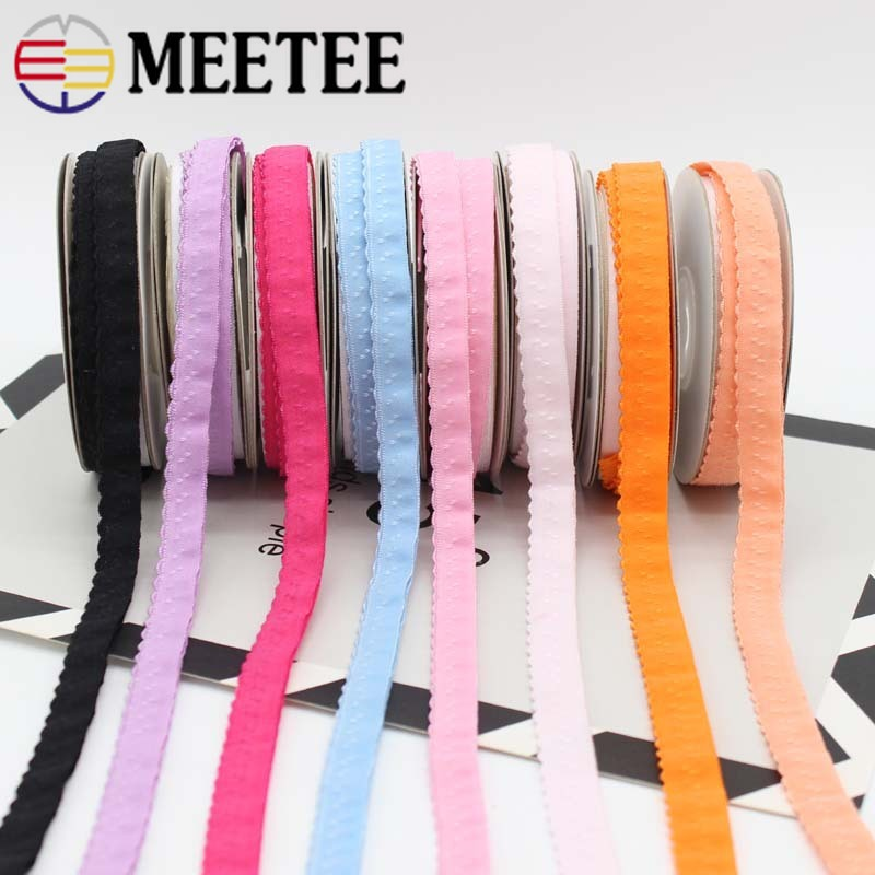 Meetee 22/45M 11mm Nylon Elastic Band For Underwear Shoulder Strap Double-layered Edge Folding Bra Belt Spring Band DIY Sewing