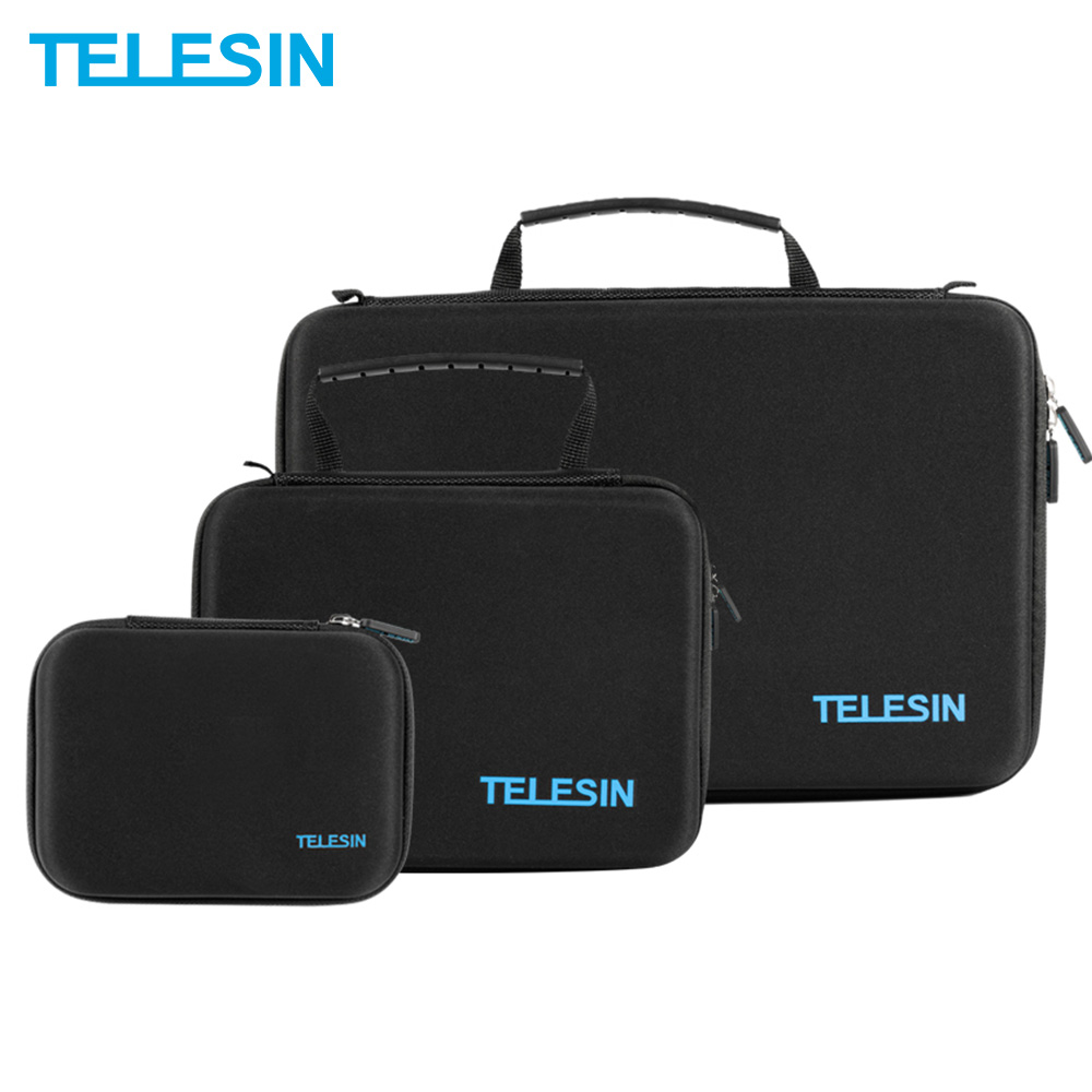 TELESIN M/S/L Tamanho Carry Case Bag Box para GoPro Hero 8 7 6 5 4 3 2 SJCAM 4 SJ4000 para Xiaomi Yi 4K K + Caso Saco Da Câmera Acessórios