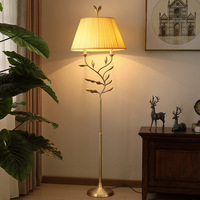 simple all copper dining room study living room bedroom bedside floor lamp new Chinese fabric lamp shade floor lamp