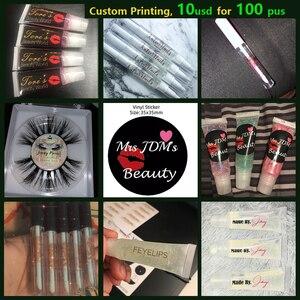 100pcs 35mm Custom Label Clear Transparent Vinyl PVC Stickers Wedding Brand Logo Seal Lip Gloss Tube Sticker Adhesive Labels(China)