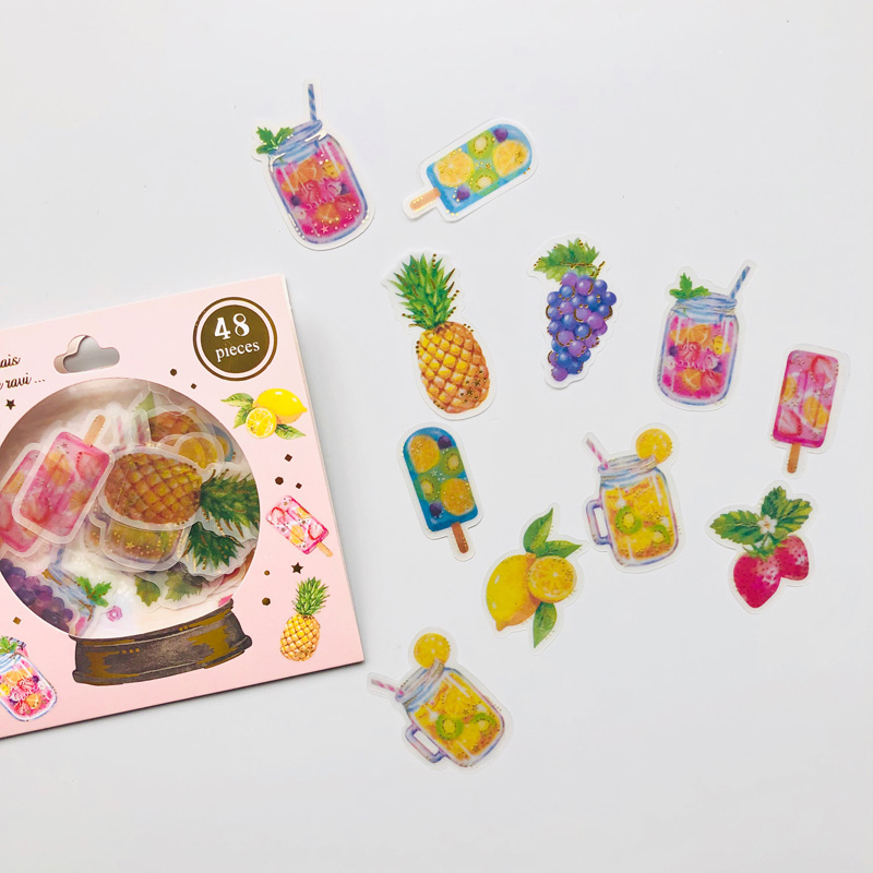 48 Pcs /Bag Fresh Fruit Party Hot Stamping Decorative Stickers Stick Label
