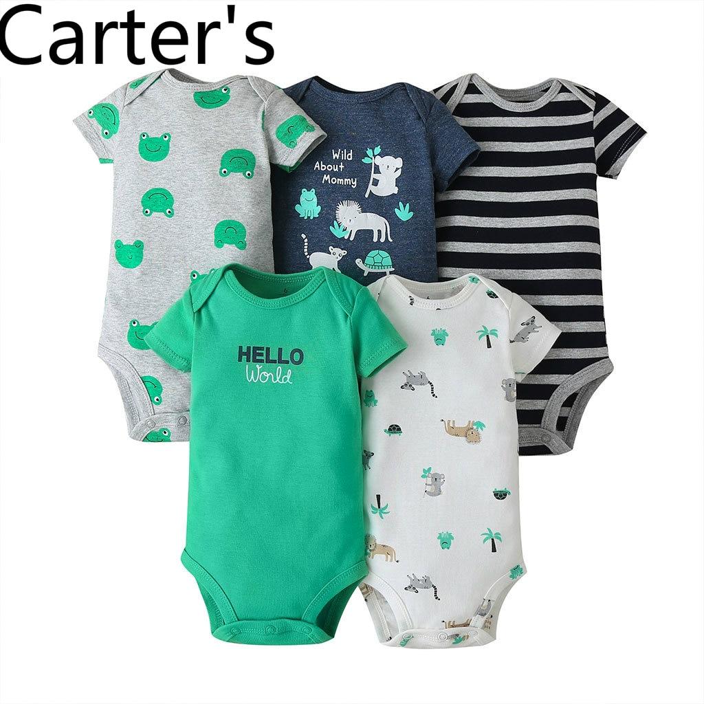 Carters-costume pour bébé pour bébé, femme, combinaison de dessin animé, corps pour bébé garçon, jumeau, pour bébé, nouveauté, été 5