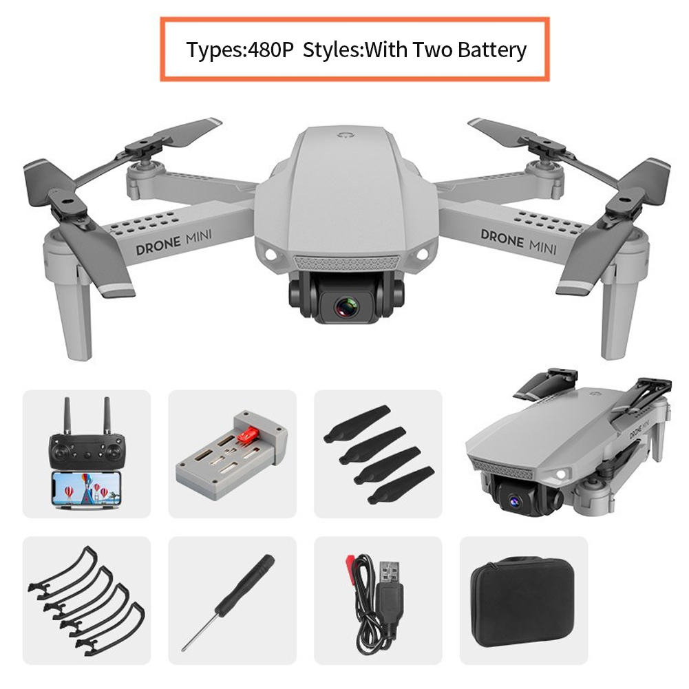 E88 Travel Remote Control One Key Return Outdoor Wide Angle Dual Camera FPV WiFi 4 Channel Foldable Drone Visual Positioning