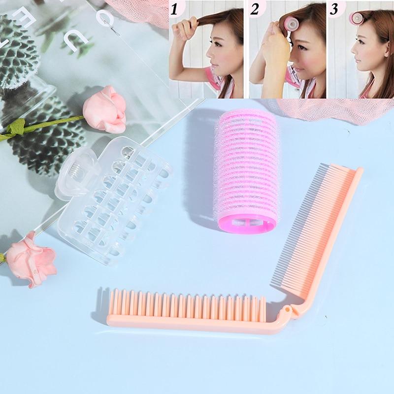 Peigne + frange à cheveux, outil de coiffure professionnel Portable, rouleaux à bricolage-même bigoudis, pinces duveteuses