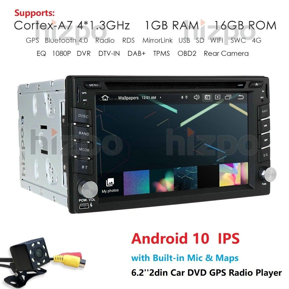 Hizpo DVD 6,2 ''Android 10,0 Универсальное автомобильное радио двойной din Стерео GPS навигация в тире ПК видео WIFI USB 2din BT сенсорный экран