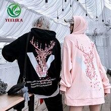 2019 sonbahar kış yeni Sakura çiçek baskılı kapüşonlu svetşört büyük boy pamuk Hip hop eğlence Harajuku kazak Modis uzun kollu