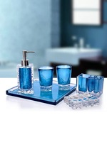 Resin Bathroom Set 5/6pcs High End Pink Blue Washing Brush Tools Lotion Bottle Toothbrush Holder Wedding Gift