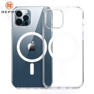 Image 1 - יוקרה מגנטי מקרה עבור iPhone 11 12 פרו מקס מיני XS XR X 10 נייד טלפון כיסוי ברור פגז TPU רך סיליקון עמיד הלם פגוש